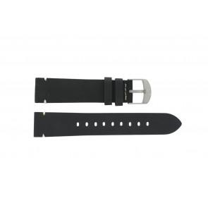 Timex horlogeband PW4B01900 Leder Zwart 20mm + wit stiksel