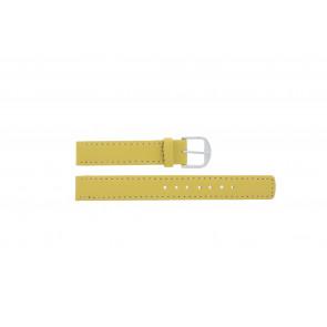 Q&Q horlogeband QQ14LDYGS Leder Geel 14mm + wit stiksel