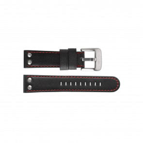 TW Steel horlogeband TW411 / TWB411 Leder Zwart 24mm + rood stiksel