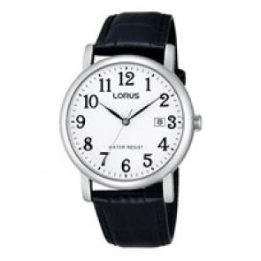 Lorus horlogeband VJ32 X246 Leder Zwart 20mm + zwart stiksel