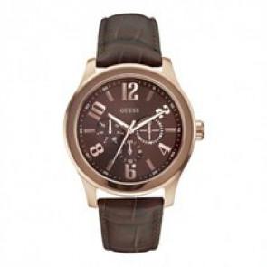Guess horlogeband W0008G3 Leder Donkerbruin 22mm + bruin stiksel