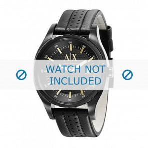 Armani horlogeband AX1091 Leder Zwart 22mm + zwart stiksel