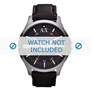 Armani horlogeband AX2101 Leder Zwart + zwart stiksel