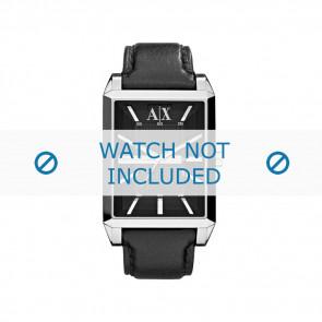 Armani horlogeband AX-2113 Leder Zwart 24mm + zwart stiksel