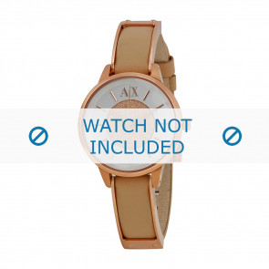 Armani horlogeband AX-5353 Leder Cream wit 12mm