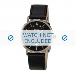 Boccia horlogeband 3154-01-BO3154-01-40 / 3154-06 Leder Zwart + zwart stiksel