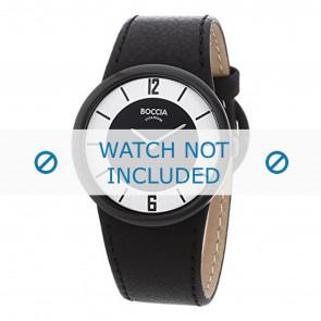 Boccia horlogeband 3161-01-BO3161-01-40 Leder Zwart 25mm + zwart stiksel