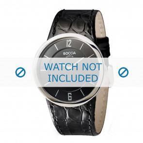 Boccia horlogeband 3161-07-BO3161-07-40 Croco leder Zwart 26mm + zwart stiksel