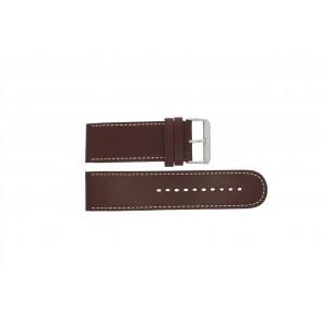 Prisma horlogeband 28BR Leder Bruin 28mm + wit stiksel