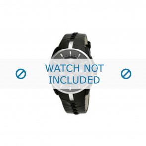 Breil horlogeband BW0487 Leder Zwart + zwart stiksel