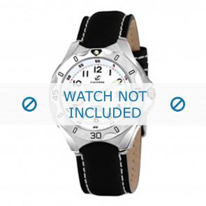 Calypso horlogeband K5154-1 Leder Zwart 21mm + wit stiksel