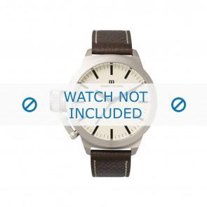 Danish Design horlogeband IQ13Q107 Leder Donkerbruin 20mm + wit stiksel