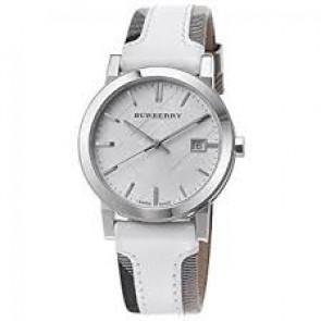 Horlogeband Burberry BU9019 Leder Wit
