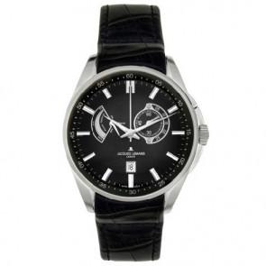 Jacques Lemans horlogeband G175 Leder Zwart 22mm + zwart stiksel
