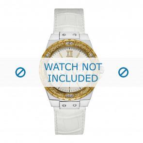 Guess horlogeband W0775L8 Limelight Leder Wit 20mm + wit stiksel