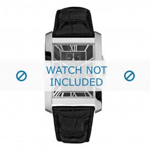 Guess horlogeband W10213G1 Leder Zwart + zwart stiksel