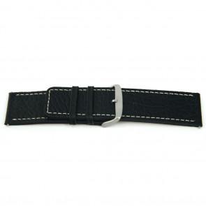 Echt lederen horloge band zwart met wit stiksel 22mm H125