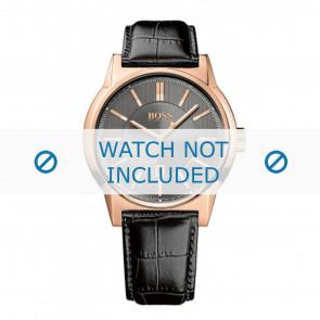 Hugo Boss horlogeband HB1513073 / HB-202-1-34-2720 Leder Zwart 22mm + zwart stiksel