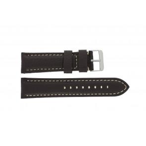 Horlogeband I038 XL Leder Donkerbruin 24mm + wit stiksel