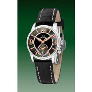 Jaguar horlogeband J624-5 Leder Zwart 16mm + wit stiksel