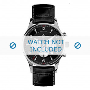 Jacques Lemans horlogeband 1-1654A Leder Zwart + standaard stiksel