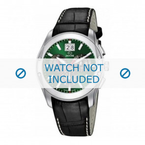 Jaguar horlogeband J615-3 / J615-A / J615-B / J615-D / J615-E / J615-G / J615-H / J615-I / J615-J / J615-K Croco leder Zwart 22mm + wit stiksel