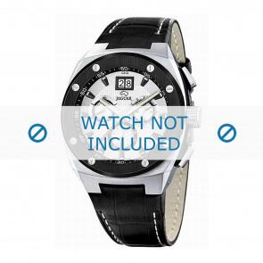 Jaguar horlogeband J620/1 Leder Zwart 16mm + wit stiksel