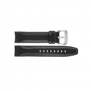Jaguar horlogeband J650-LED / J650/1 / J650/X / J651/1 / J652/1 / J653 Leder Zwart 22mm + wit stiksel