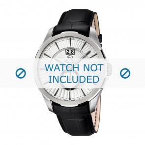 Jaguar horlogeband J682-1 / J682-2 / J682-3 / J682-4 Leder Zwart 22mm + zwart stiksel