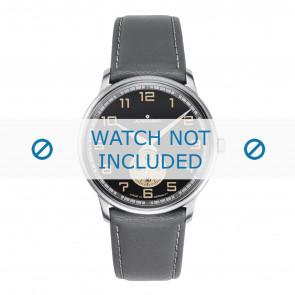 Junghans horlogeband 027/3607.00 Leder Grijs 20mm + wit stiksel