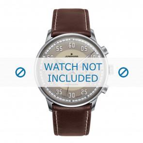 Junghans horlogeband 027/3684.00 Leder Donkerbruin 21mm + wit stiksel
