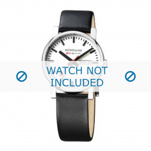 Mondaine horlogeband A667.30344.11SBB Leder Zwart 20mm