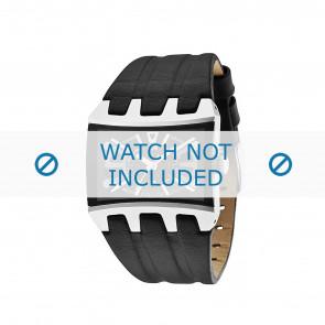 Police horlogeband 13420js/02A Glad leder Zwart