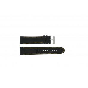 Pulsar horlogeband VK63-X001 / PP077X Leder Zwart 22mm + geel stiksel
