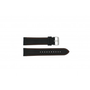 Pulsar horlogeband VK63-X001 / PU2071X1 Leder Zwart 22mm + oranje stiksel