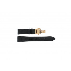 Seiko horlogeband SNL044P1 / 4LJ5KB / 7L22 0AR0 Leder Zwart 21mm + zwart stiksel