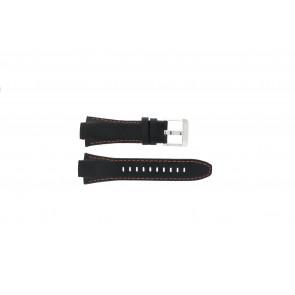 Seiko horlogeband 7T62-0ED0 / H023 00C0 / SNJ007P  Leder Zwart 15mm + oranje stiksel