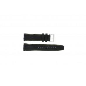 Seiko horlogeband 7T62-0HL0 / SNAB57P1 / 4LP3JB Leder Zwart 24mm + geel stiksel