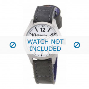 Superdry horlogeband SYL113E Leder Grijs + grijs stiksel