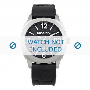 Superdry horlogeband SYL116B Leder Zwart + zwart stiksel