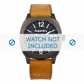 Superdry horlogeband SYL116TT Leder Cognac + standaard stiksel