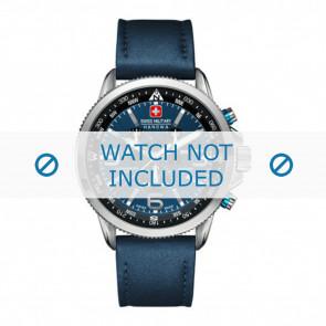 Swiss Military Hanowa horlogeband 06-4224.04.003 Leder Blauw 22mm + blauw stiksel