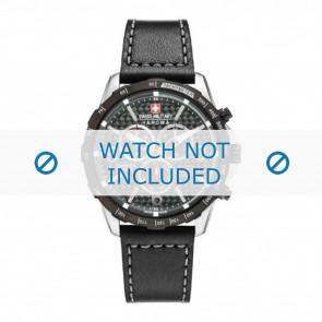 Swiss Military Hanowa horlogeband 06-4251.33.001 Leder Zwart 24mm + grijs stiksel