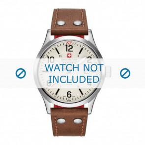 Swiss Military Hanowa horlogeband 06-4280.04.002.05 Leder Cognac 22mm + wit stiksel