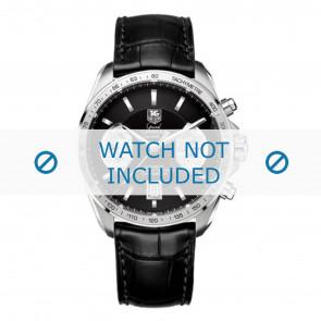 Tag Heuer horlogeband FC6225 Leder Zwart + grijs stiksel