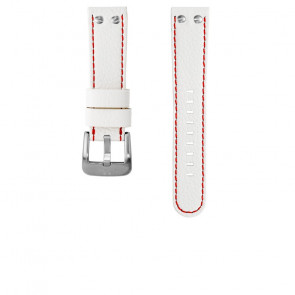 TW Steel horlogeband TWB39 / TW39 Leder Wit 22mm + rood stiksel