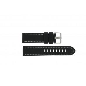 Prisma horlogeband ZWST23 Leder Zwart 23mm + wit stiksel