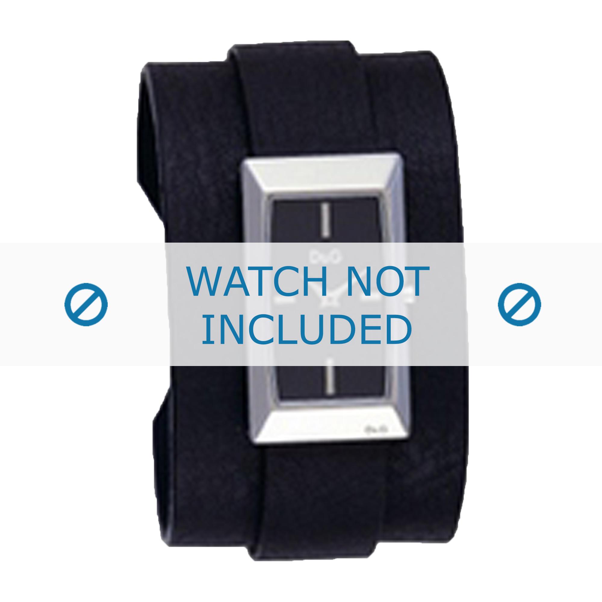 Dolce & Gabbana horlogeband 3719040031 Leder Zwart + zwart stiksel