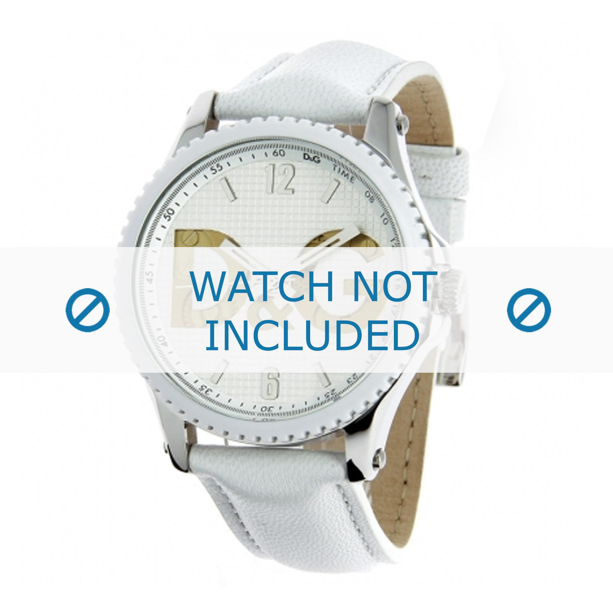 Dolce & Gabbana horlogeband DW0706 Leder Wit 20mm + wit stiksel