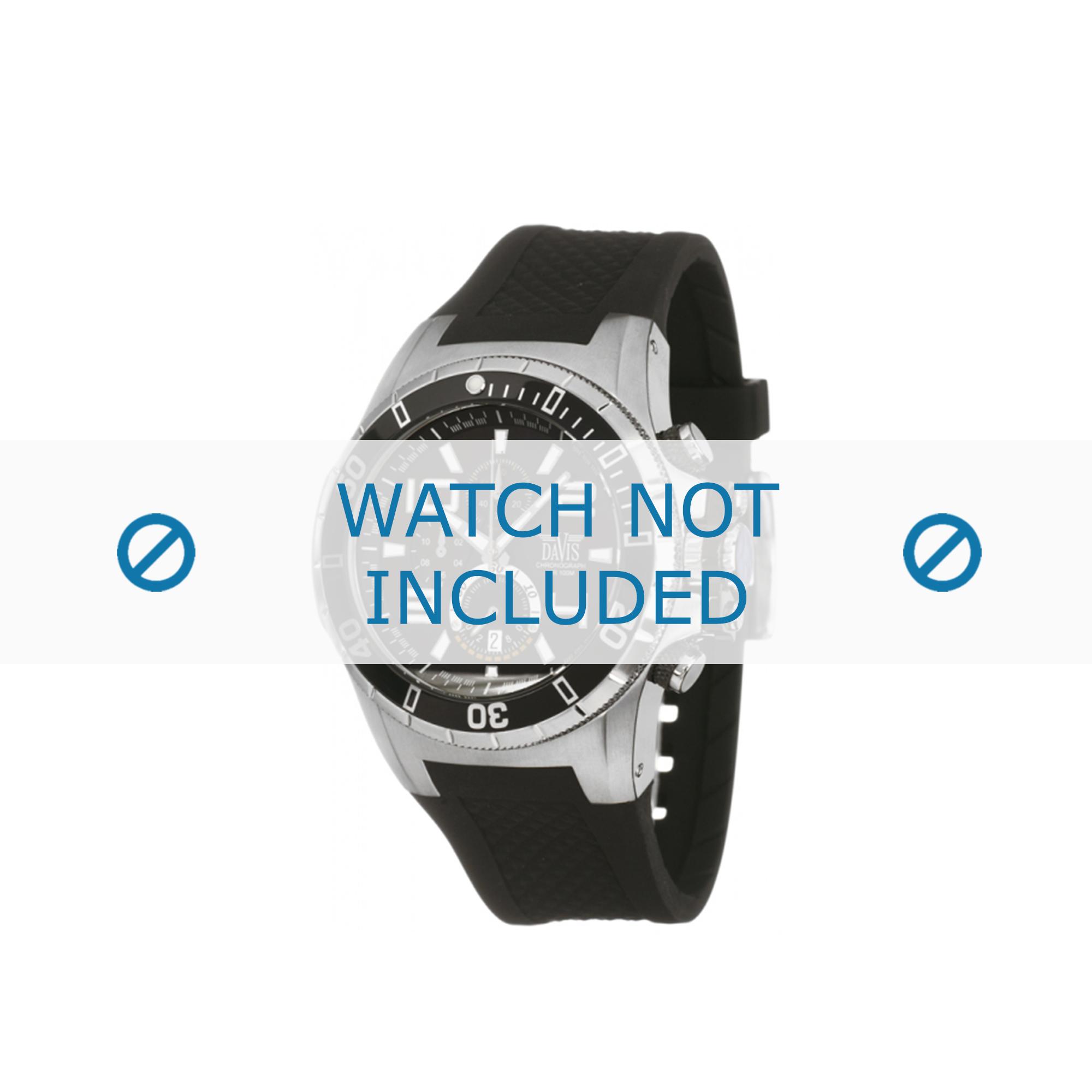 Davis horlogeband zwart rubber 1630